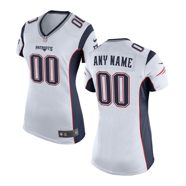Nike New England Patriots White Women's Custom Game Jersey