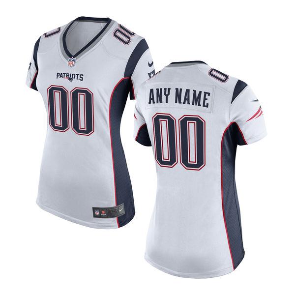 Nike New England Patriots White Women's Custom Game Jersey