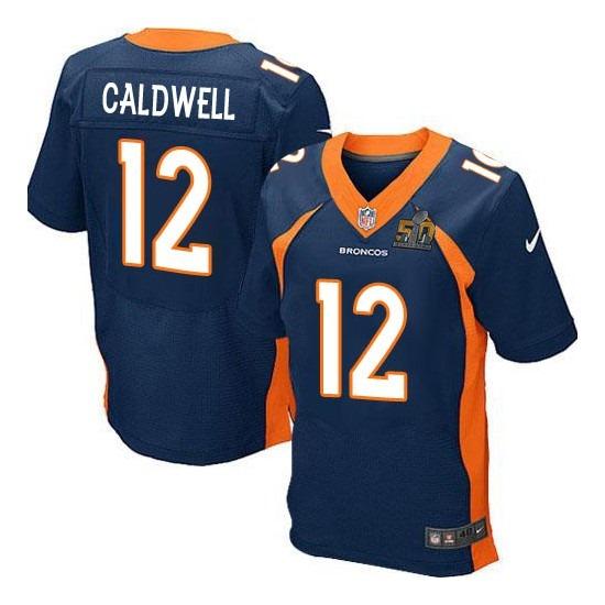 Nike Broncos 12 Andre Caldwell Blue Super Bowl 50 Elite Jersey