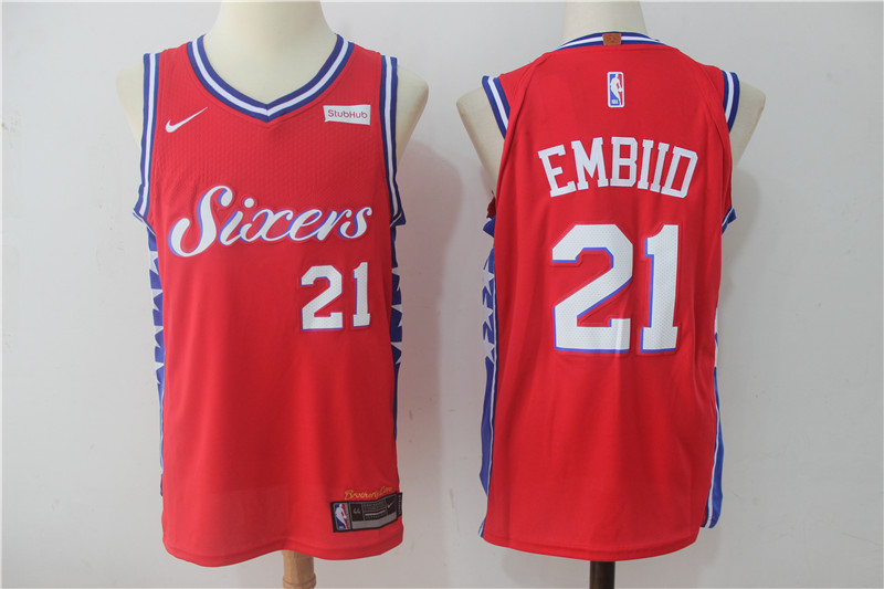 76ers 21 Joel Embiid Red Nike Authentic Jersey
