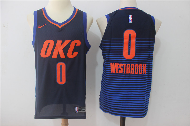Thunder 0 Russell Westbrook Navy Nike Authentic Jersey