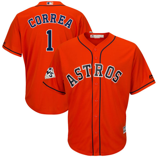 Astros 1 Carlos Correa Orange 2017 World Series Bound Cool Base Player Jersey