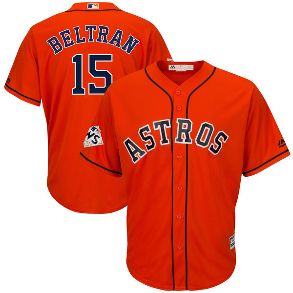 Astros 15 Carlos Beltran Orange 2017 World Series Bound Cool Base Player Jersey