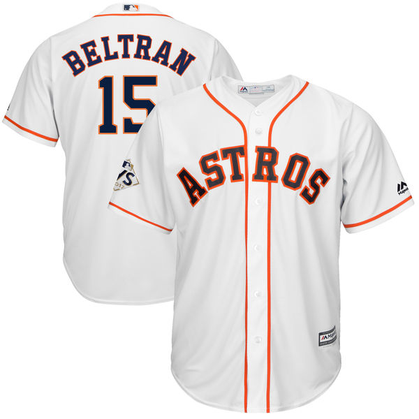 Astros 15 Carlos Beltran White 2017 World Series Bound Cool Base Player Jersey