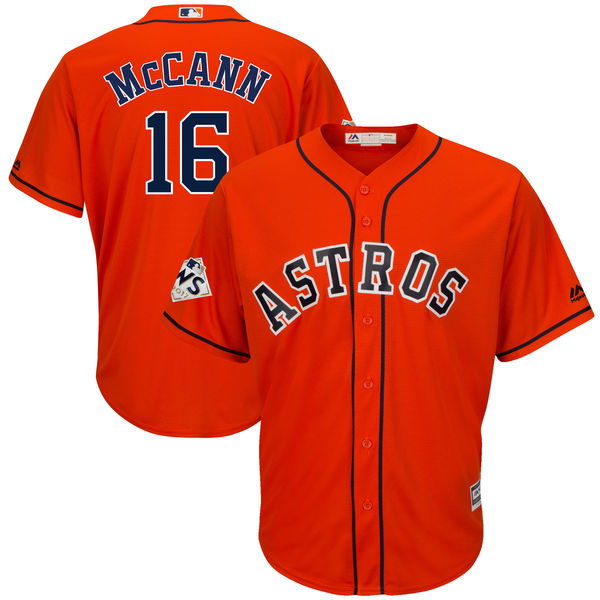 Astros 16 Brian McCann Orange 2017 World Series Bound Cool Base Player Jersey