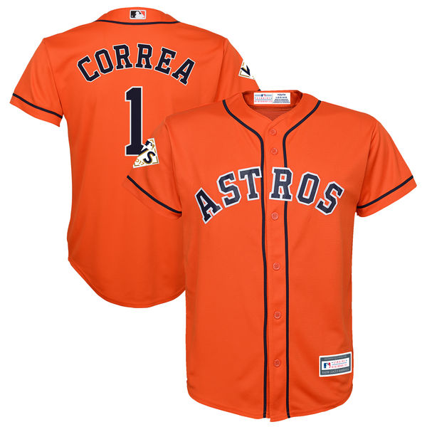 Astros 1 Carlos Correa Orange Youth 2017 World Series Bound Cool Base Player Jersey