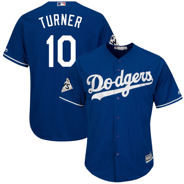 Dodgers 10 Justin Turner Royal 2017 World Series Bound Cool Base Player Jersey