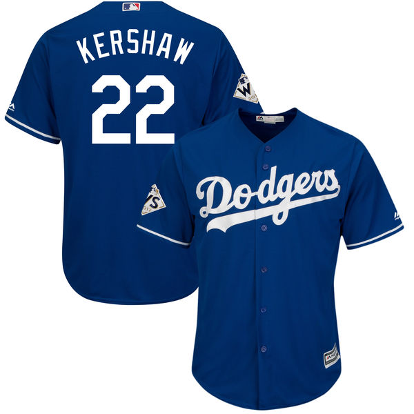 Dodgers 22 Clayton Kershaw Royal 2017 World Series Bound Cool Base Player Jersey