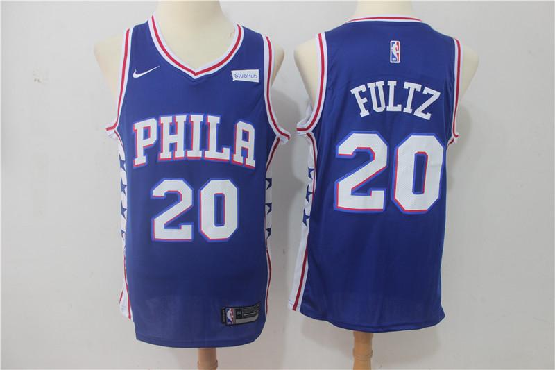 76ers 20 Markelle Fultz Blue Nike Swingman Jersey