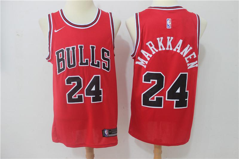 Bulls 24 Laur Markkanen Red Nike Swingman Jersey
