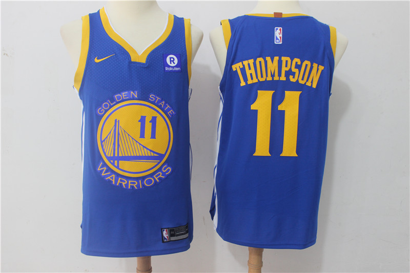 Warriors 11 Klay Thompson Blue Nike Authentic Jersey