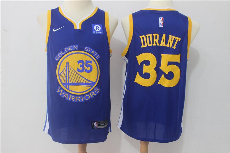 Warriors 35 Kevin Durant Blue Nike Swingman Jersey