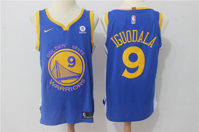 Warriors 9 Andre Iguodala Blue Nike Authentic Jersey