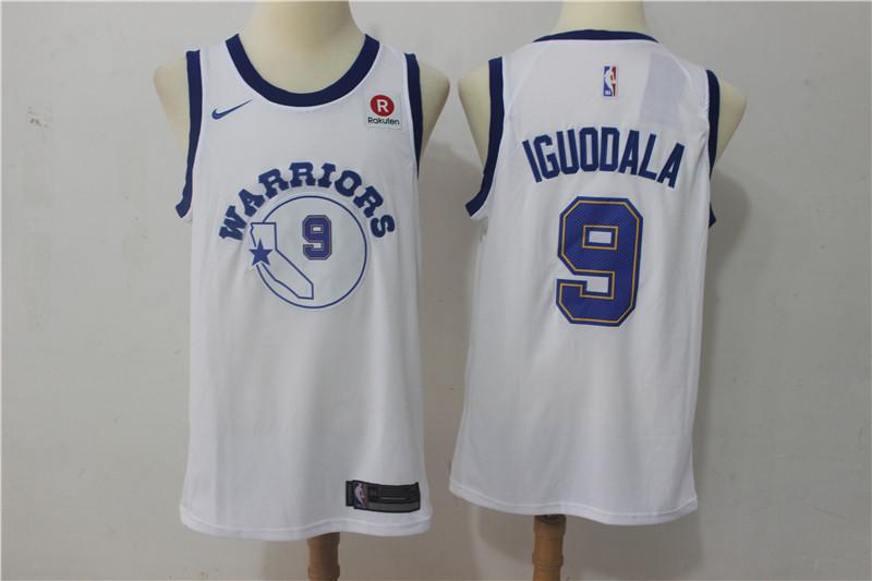 Warriors 9 Andre Iguodala White Nike Throwback Swingman Jersey