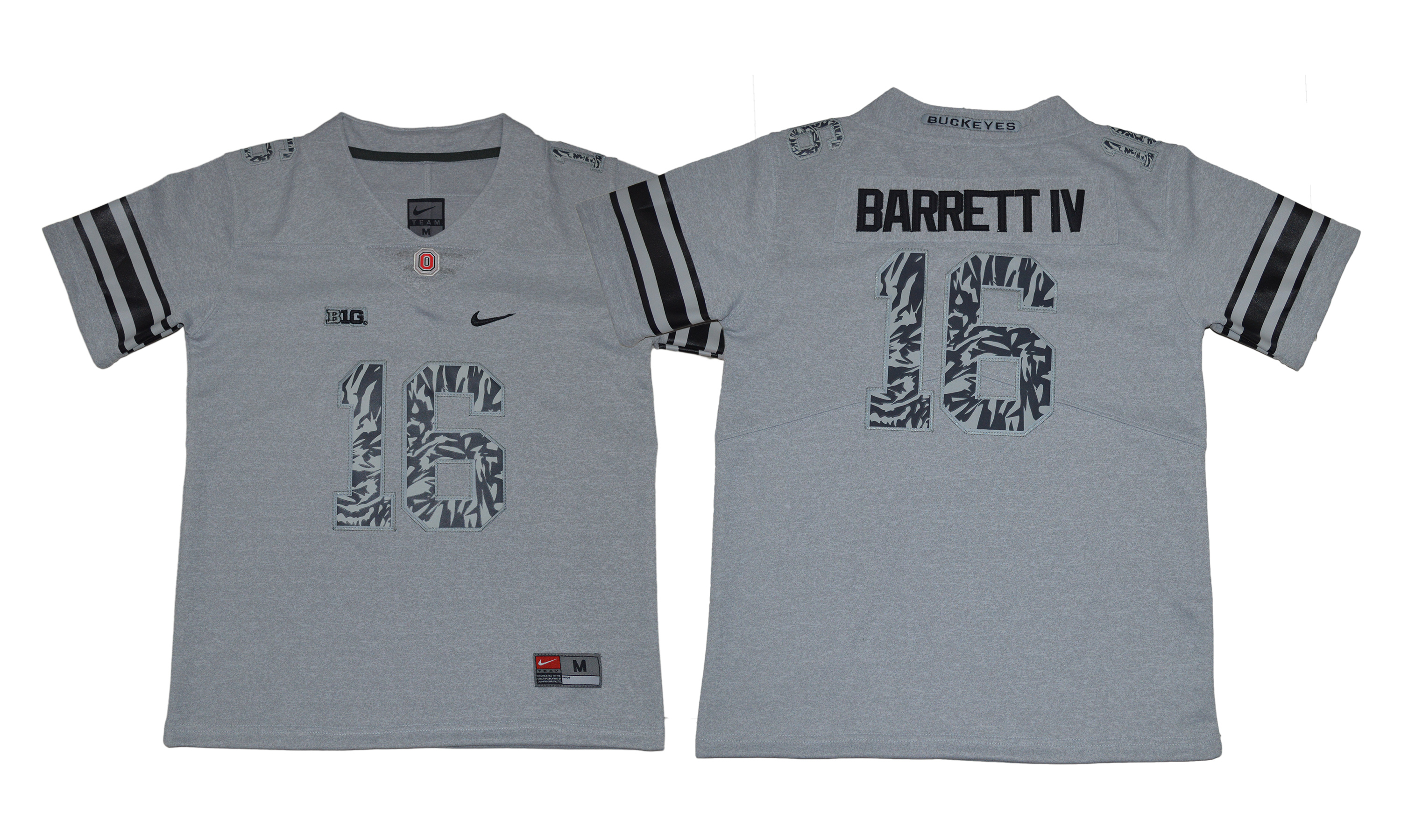 Ohio State Buckeyes 16 J.T. Barrett IV Gray Youth College Football Jersey