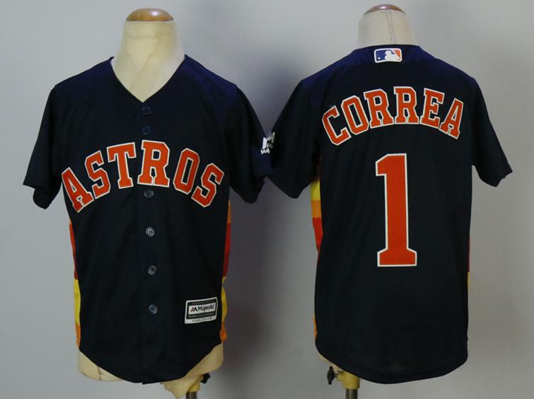 Astros 1 Carlos Correa Navy Youth Cool Base Jersey