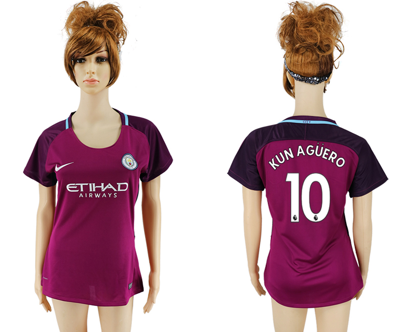2017-18 Manchester City 10 KUN AGUERO Away Women Soccer Jersey