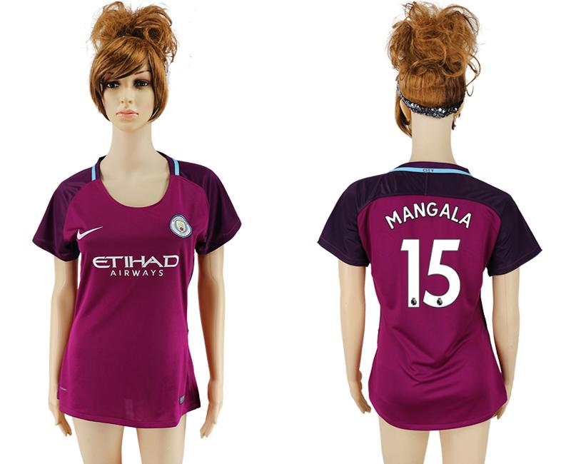 2017-18 Manchester City 15 MANGALA Away Women Soccer Jersey