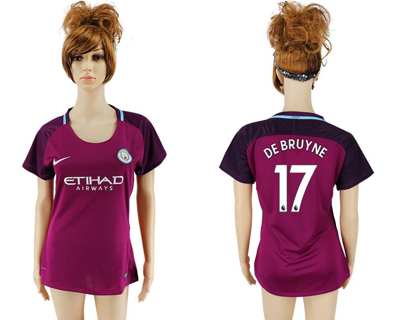 2017-18 Manchester City 17 DE BRUYNE Away Women Soccer Jersey