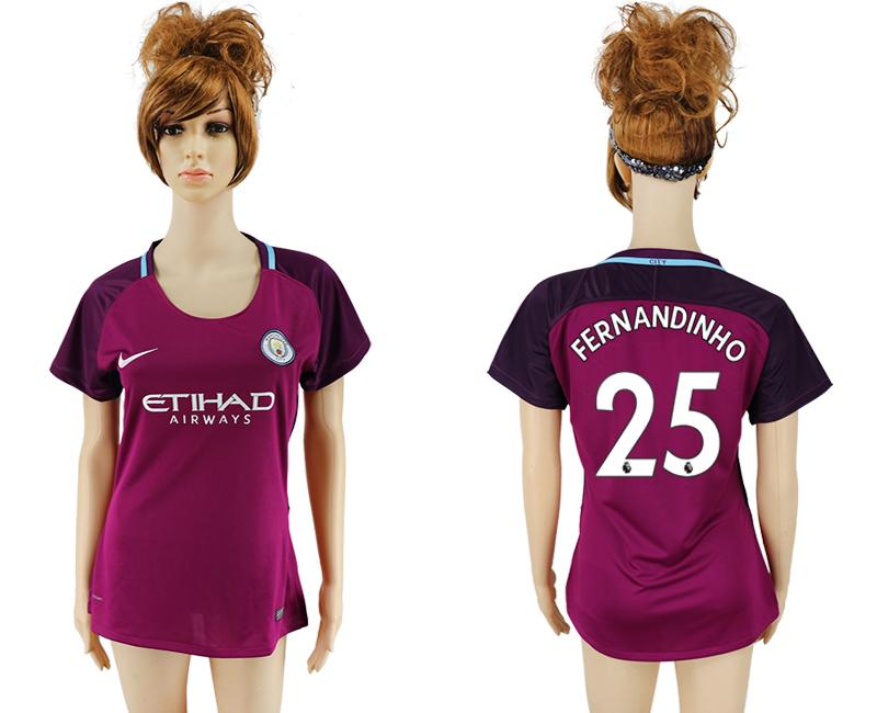 2017-18 Manchester City 25 FERNANDINHO Away Women Soccer Jersey