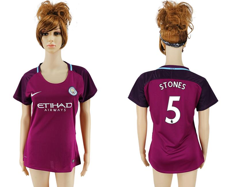 2017-18 Manchester City 5 STONES Away Women Soccer Jersey