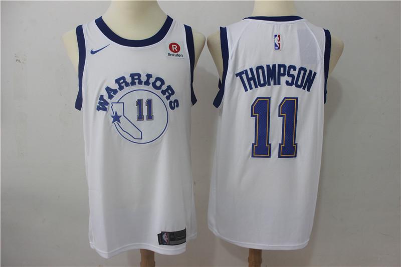 Warriors 11 Klay Thompson White Nike Throwback Swingman Jersey