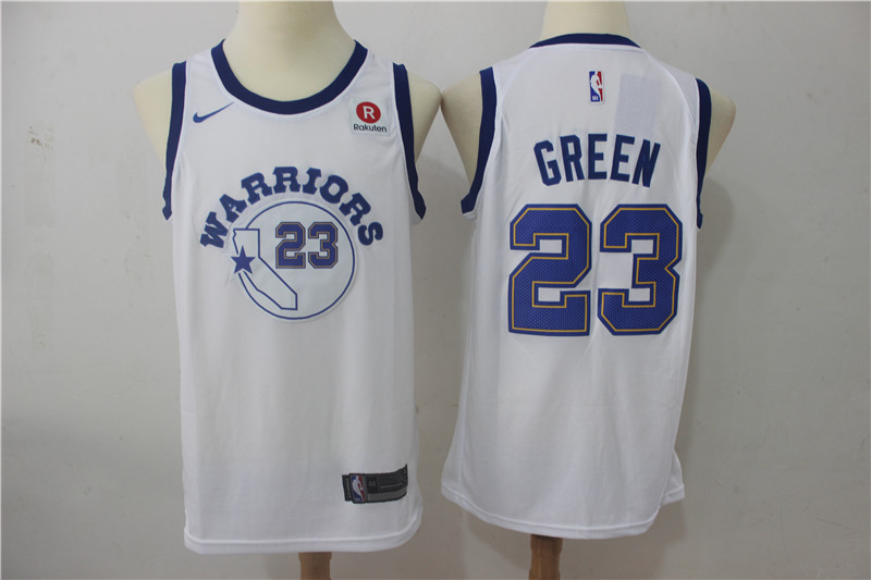 Warriors 23 Draymond Green White Nike Throwback Swingman Jersey
