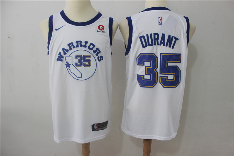 Warriors 35 Kevin Durant White Nike Throwback Swingman Jersey