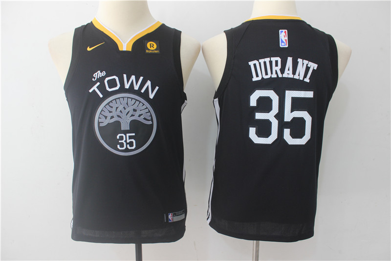 Warriors 35 Kevin Durant Black Youth The Town Nike Swingman Jersey