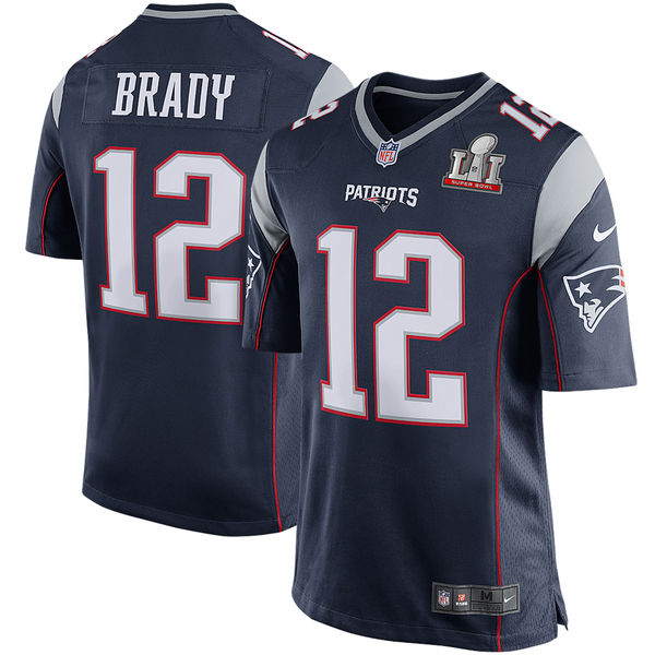 Nike Patriots 12 Tom Brady Navy Youth 2017 Super Bowl LI Game Jersey
