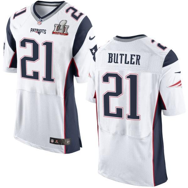 Nike Patriots 21 Malcolm Butler White 2017 Super Bowl LI Elite Jersey