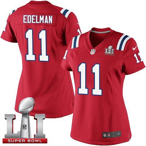 Nike Patriots 11 Julian Edelman Red Women 2017 Super Bowl LI Game Jersey