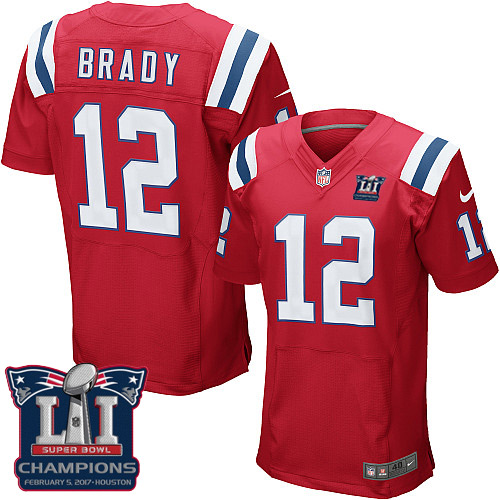 Nike Patriots 12 Tom Brady Red 2017 Super Bowl LI Champions Elite Jersey