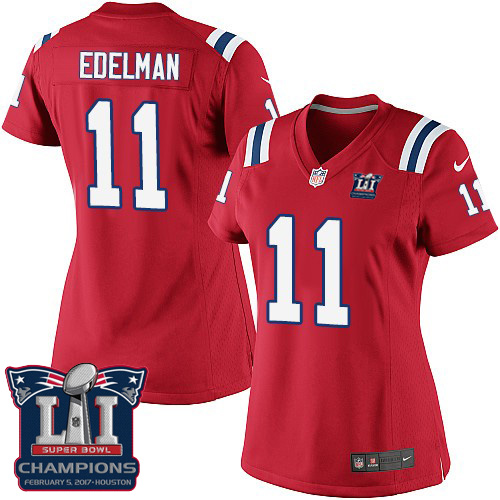 Nike Patriots 11 Julian Edelman Red 2017 Super Bowl LI Champions Women Game Jersey