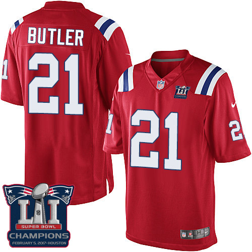 Nike Patriots 21 Malcolm Red 2017 Super Bowl LI Champions Youth Game Jersey