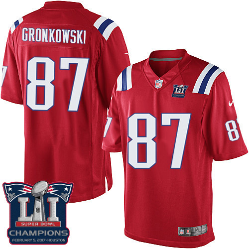 Nike Patriots 87 Rob Gronkowski Red 2017 Super Bowl LI Champions Youth Game Jersey