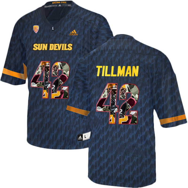 Arizona State Sun Devils 42 Pat Tillman Black Team Logo Print College Football Jersey2