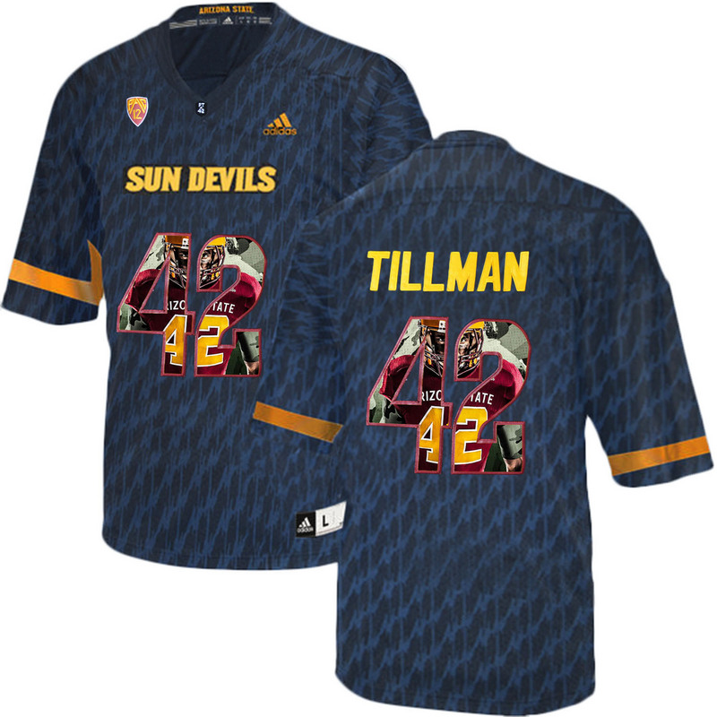 Arizona State Sun Devils 42 Pat Tillman Black Team Logo Print College Football Jersey3