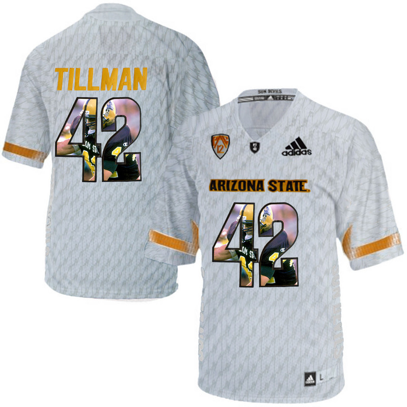 Arizona State Sun Devils 42 Pat Tillman Ice Team Logo Print College Football Jersey2