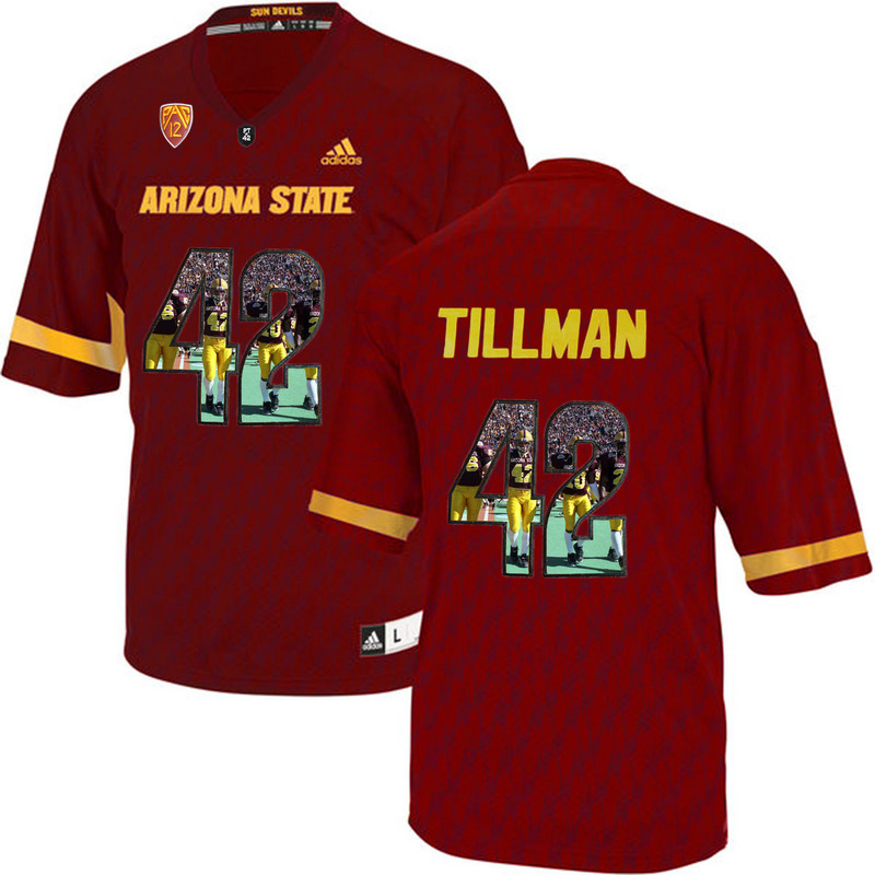 Arizona State Sun Devils 42 Pat Tillman Red Team Logo Print College Football Jersey3
