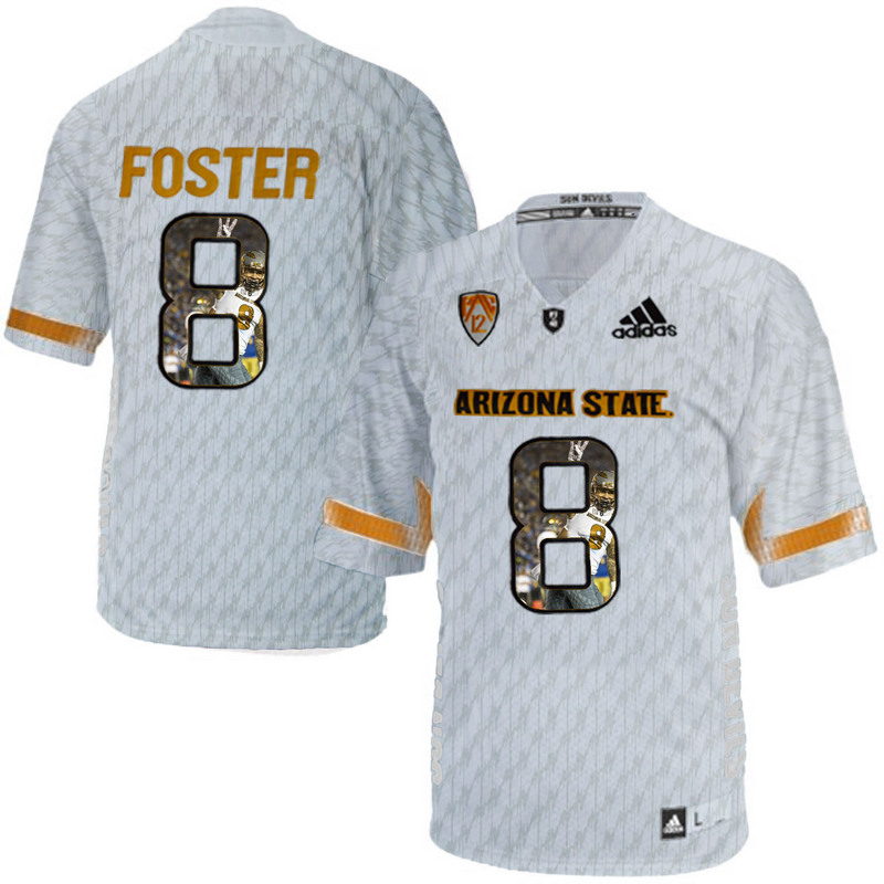 Arizona State Sun Devils 8 D.J. Foster Ice Team Logo Print College Football Jersey