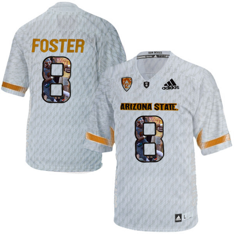 Arizona State Sun Devils 8 D.J. Foster Ice Team Logo Print College Football Jersey3