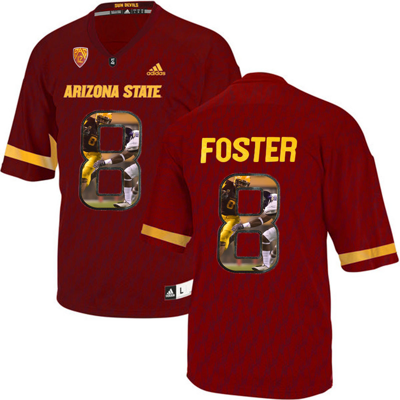 Arizona State Sun Devils 8 D.J. Foster Red Team Logo Print College Football Jersey