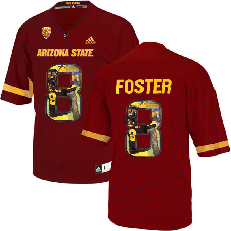 Arizona State Sun Devils 8 D.J. Foster Red Team Logo Print College Football Jersey3