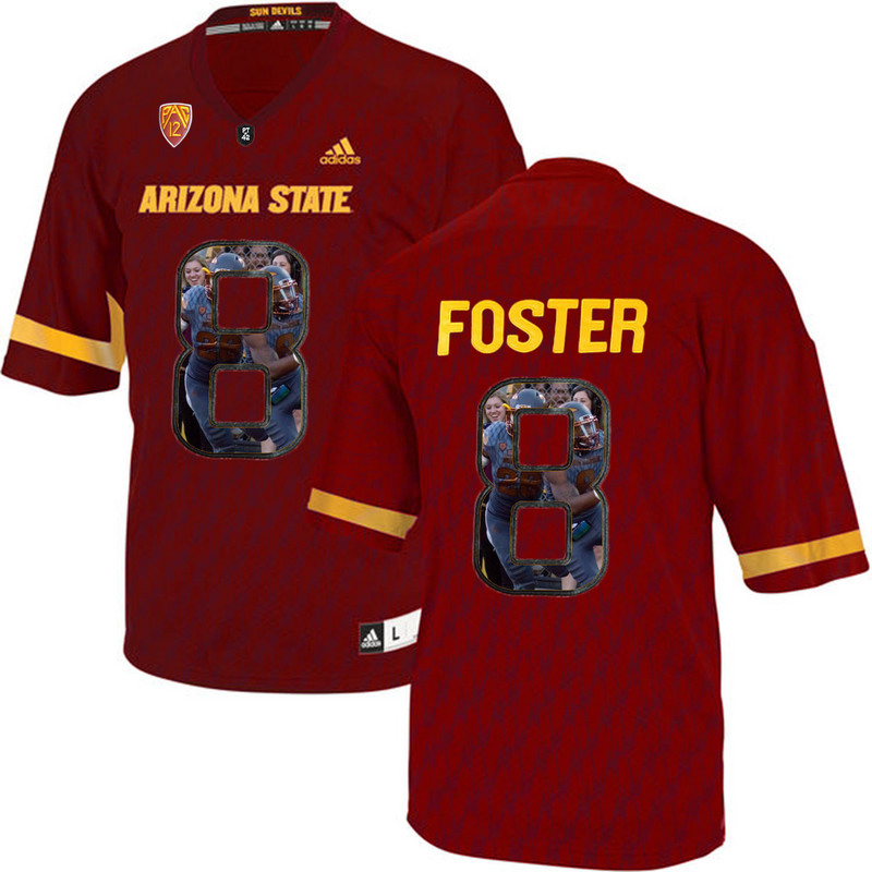 Arizona State Sun Devils 8 D.J. Foster Red Team Logo Print College Football Jersey5