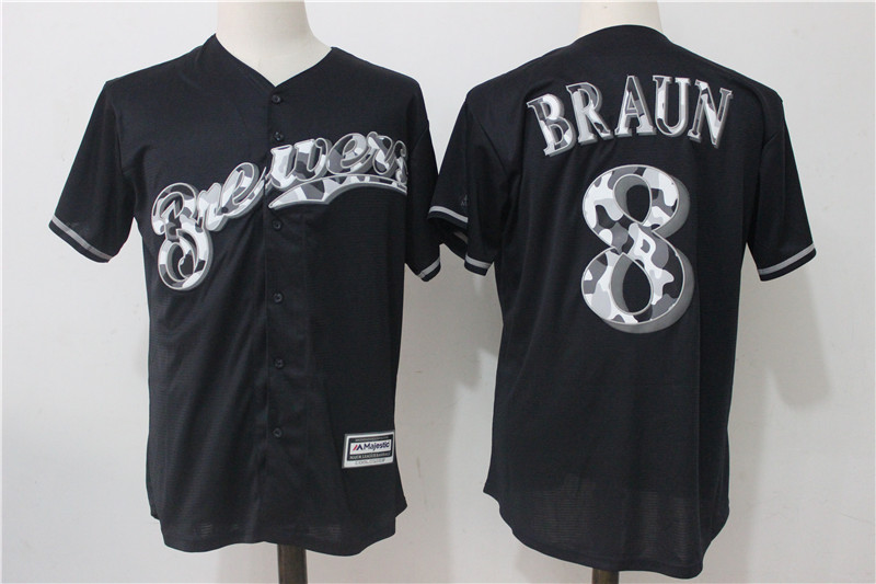 Brewers 8 Ryan Braun Black Cool Base Jersey