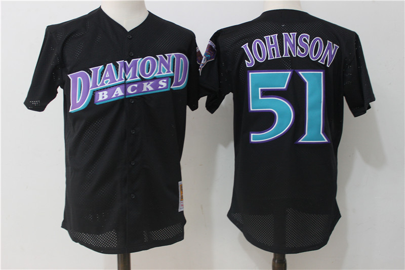 Diamondbacks 51 Randy Johnson Black Cooperstown Collection Mesh Batting Practice Jersey