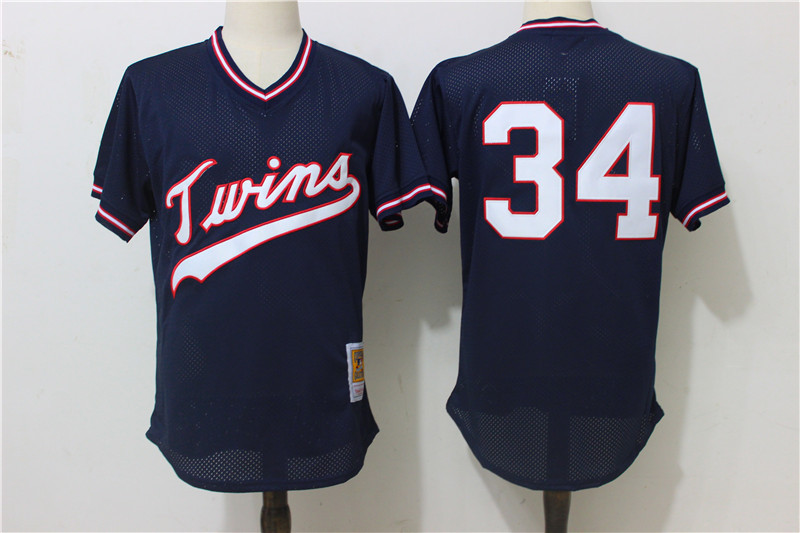 Twins 34 Kirby Puckett Navy Blue Cooperstown Collection Mesh Jersey