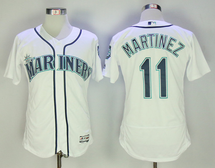 Mariners 11 Edgar Martinez White Flexbase Jersey