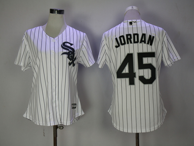 White Sox 45 Michael Jordan White Women Cool Base Jersey